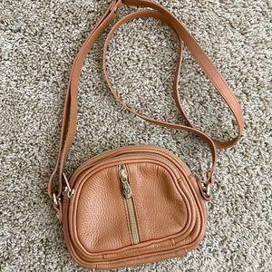 VALENTINA genuine brown leather crossbody bag